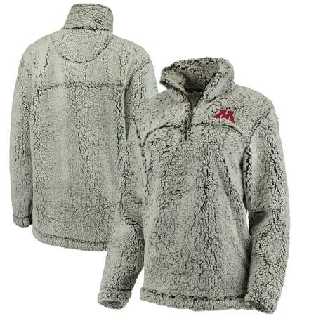 Minnesota Golden Gophers Women's Sherpa Super Soft Quarter-Zip Pullover Jacket - Gray (Minnesota Wild Classic Jacket)