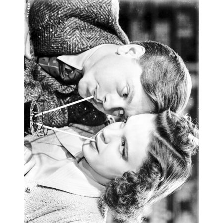 - Judy Garland Mickey Rooney Babes in Arms 1939 drinking from the same cup Photo Print