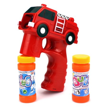 Rescue Fire Truck Battery Operated Toy Bubble Blowing Gun w/ 2 Bottles of Bubble Liquid](Bubbles Toys)