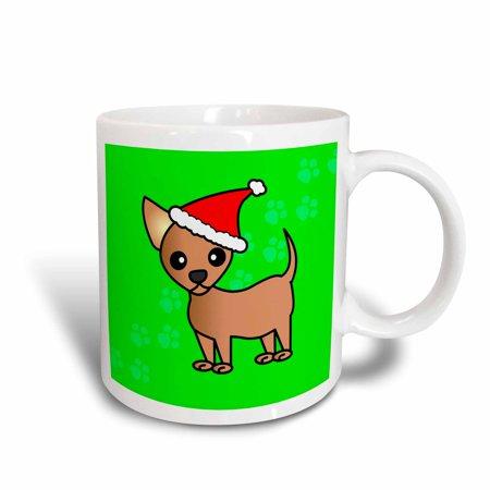 Chihuahua Santa - 3dRose Cute Chihuahua Green with Santa Hat, Ceramic Mug, 11-ounce