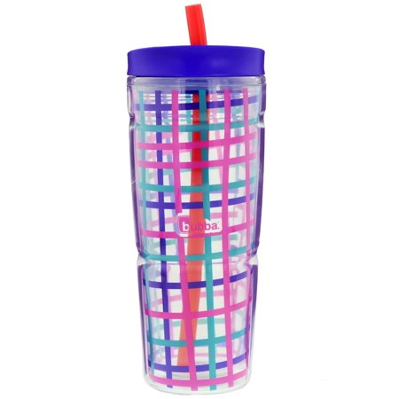 bubba 24 oz envy tumbler check graphic, boho purple - Dual-walled insulated tumbler with food-grade silicone