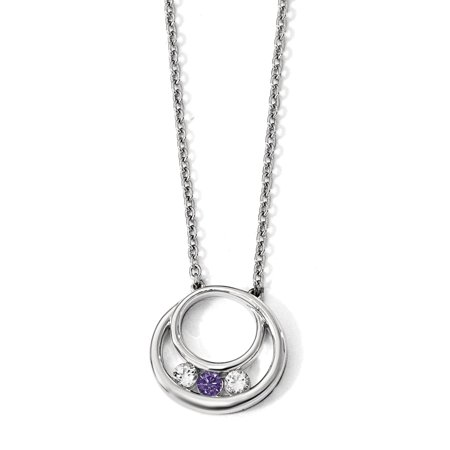 Sterling Silver Survivor Clear & Purple Swarovski Topaz Circle of Hope Necklace with Pendant