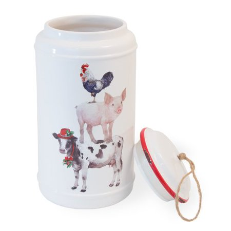 The Holiday Aisle Ferris Christmas on the Farm 20 qt. Cookie Jar
