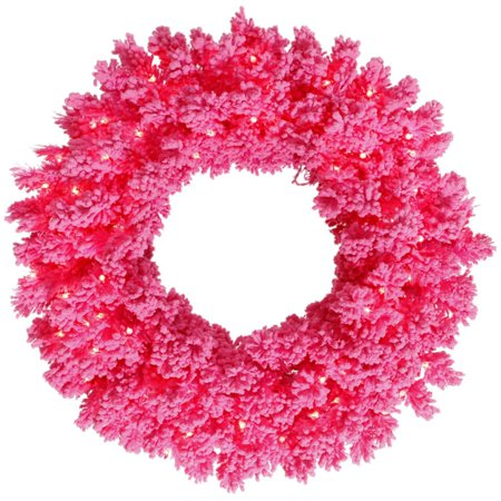 24 Pre Lit Flocked Hot Pink Pine Artificial Christmas Wreath Lights