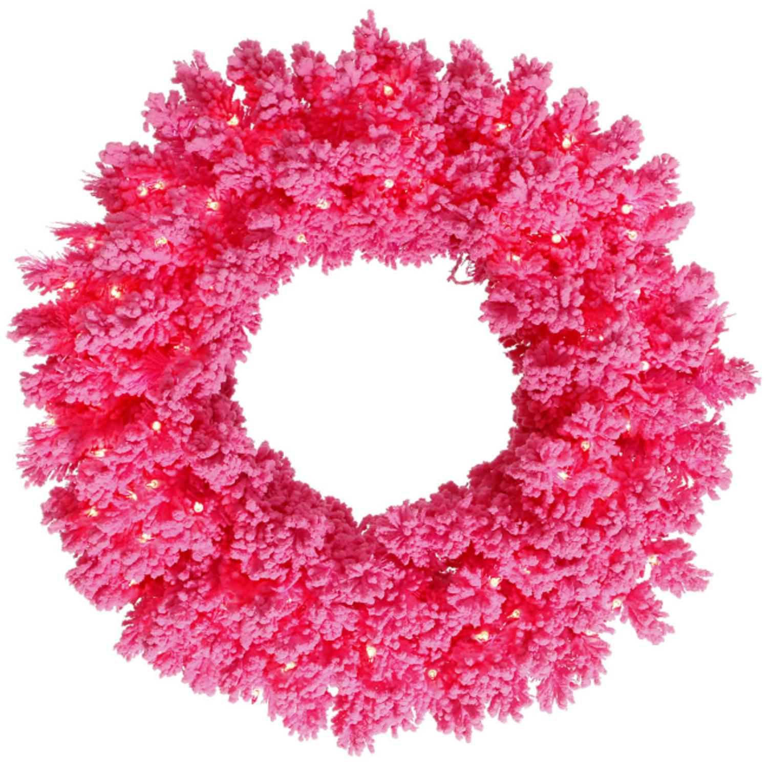 "24"" Pre-Lit Flocked Hot Pink Pine Artificial Christmas Wreath - Pink Lights"