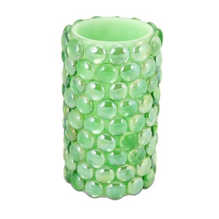 "6"" Operated vert perles batterie LED bougie allumée sans flamme pilier - Flamme Flicker Ambre - image 1 de 1"