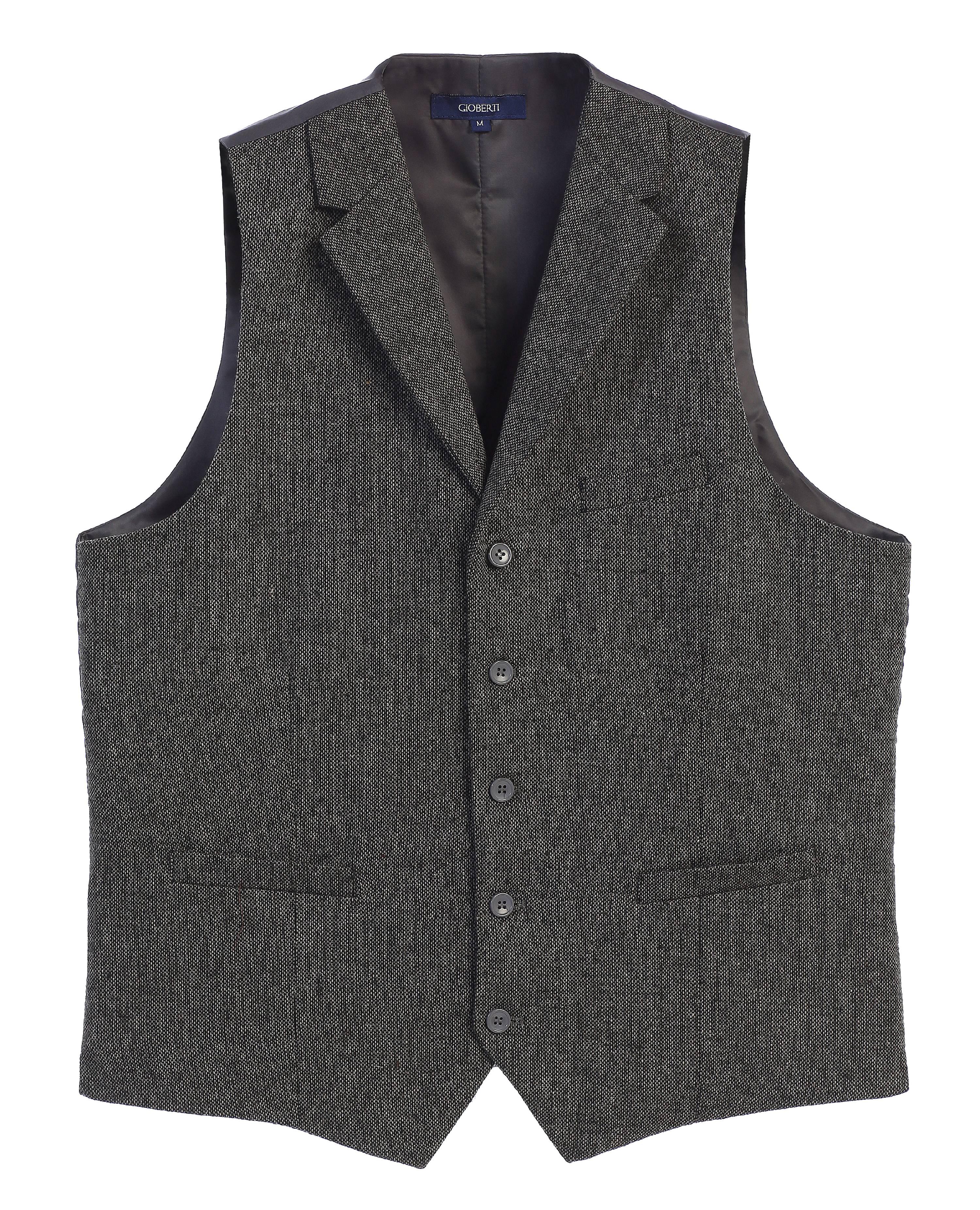 Gioberti Men's 5 Button Tailored Collar Formal Tweed Suit Vest