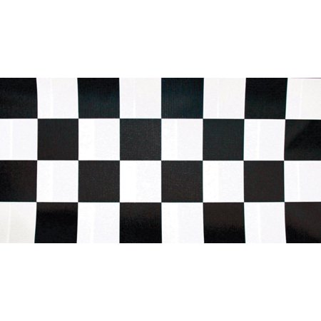 Pack of 6 Black and White Checkered Disposable Plastic Banquet Party Table Cloth Rolls 100'