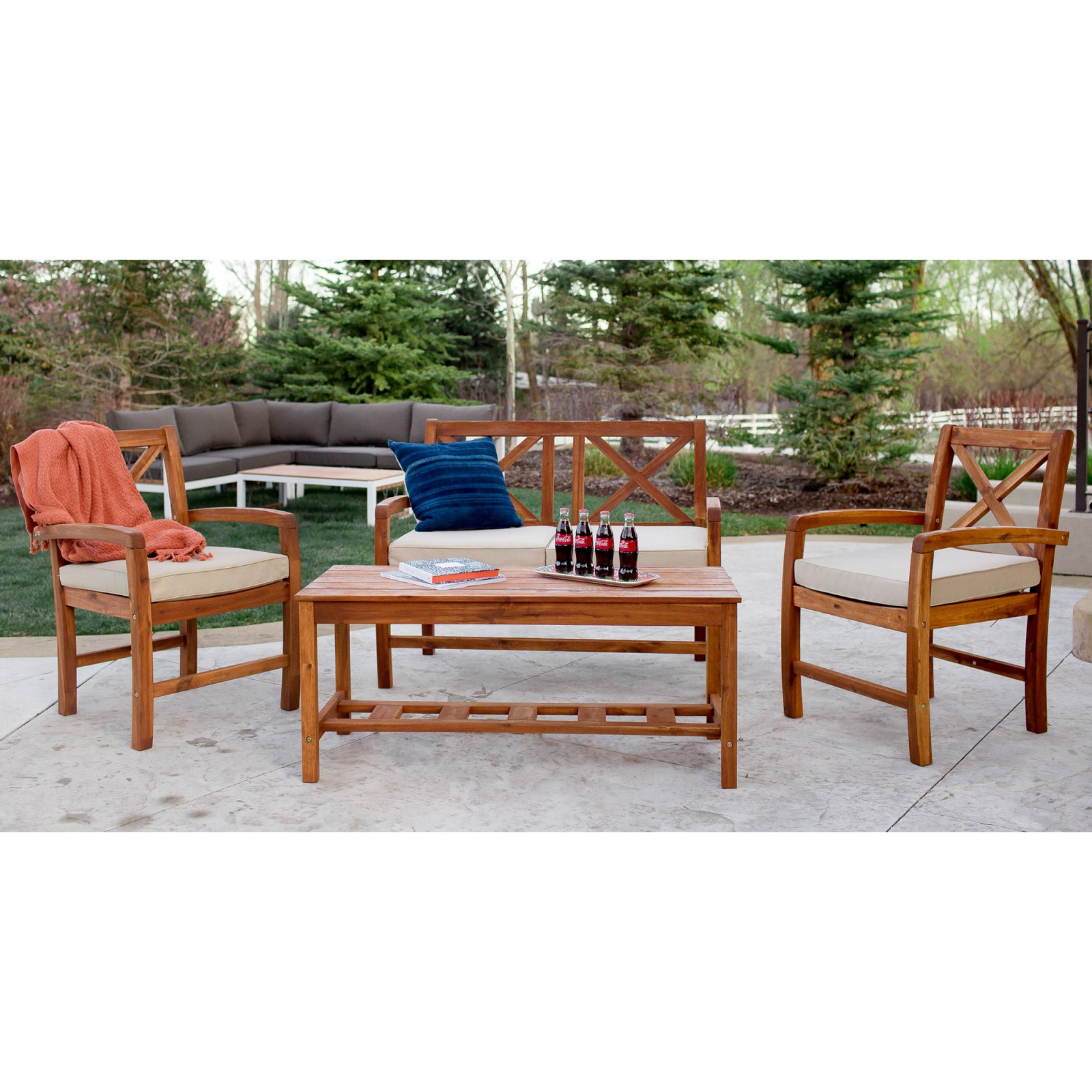 Walker Edison X-Back Acacia Wood 4 Piece Patio Conversation Set with Cushions