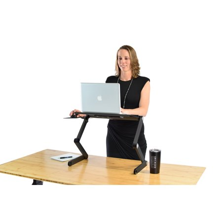 WorkEZ Cool Adjustable Height & Angle Ergonomic Aluminum Laptop Cooling Stand, Portable Standing Desk, Folding Lap Desk. 2 Fans+3 USB Ports Mouse Pad