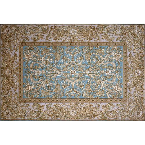 Astoria Grand Grimaldi Hand Look Persian Wool Blue/Brown/Ivory Area Rug