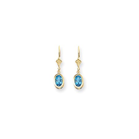 14k Yellow Gold 7x5mm Oval Blue Topaz Leverback Earrings Lever Back Drop Dangle Gemstone Bezel Gifts For Women For Her