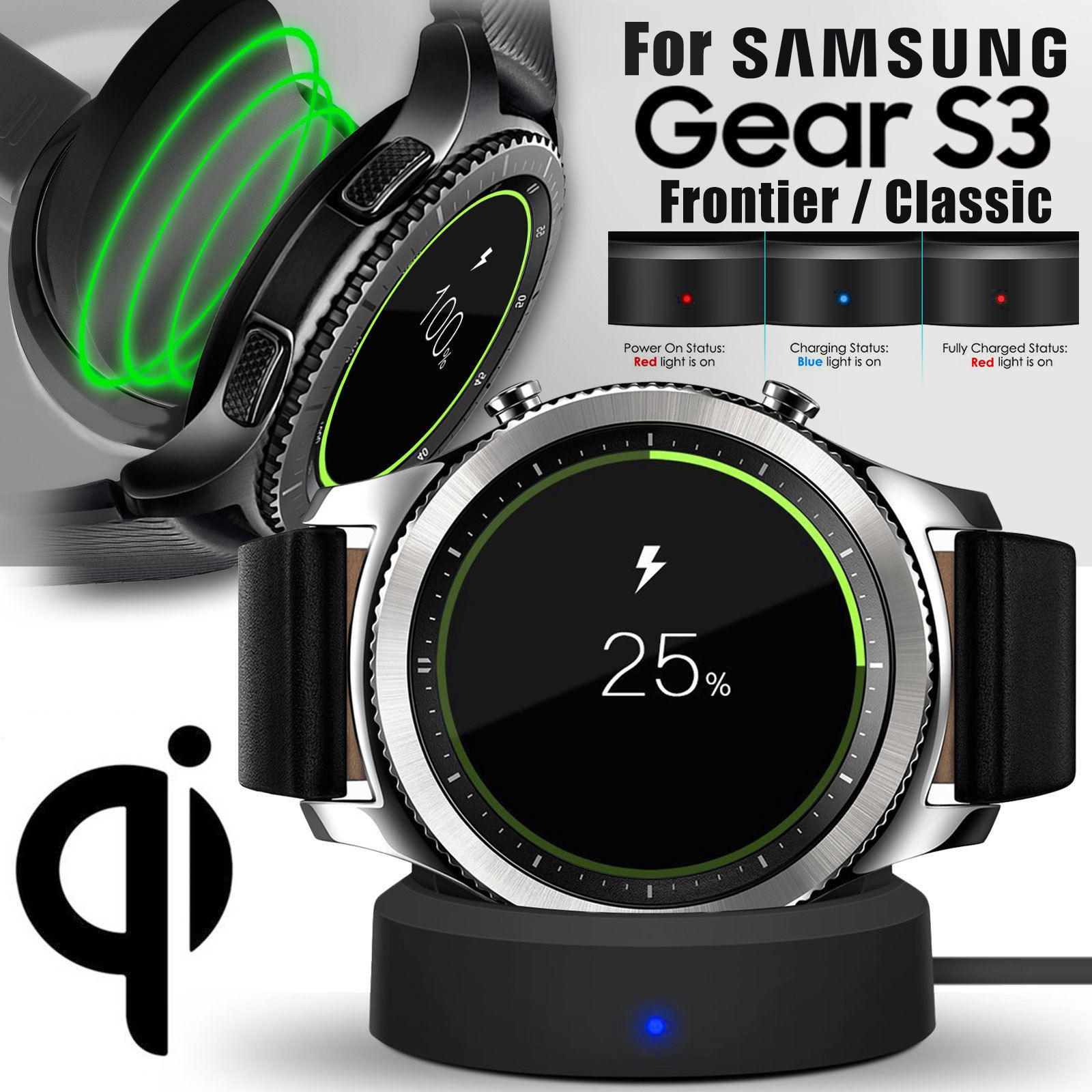 TSV Qi Fast Wireless Charging Dock Cradle Charger For Samsung Gear S3 Classic / Frontier