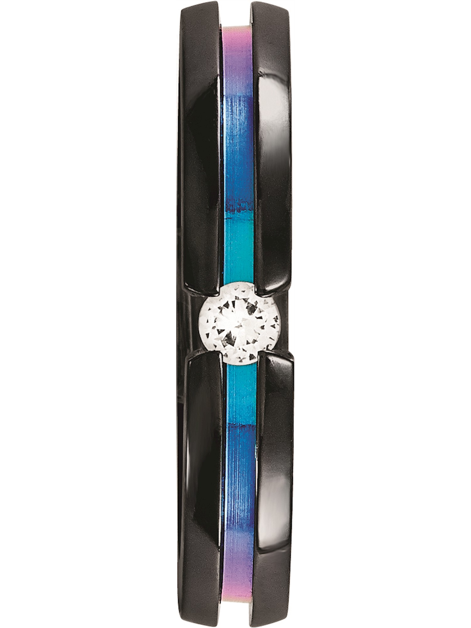 Edward Mirell Black Titanium White Sapphire and Rainbow Multi-Colored Grooved Anodized 4mm Band
