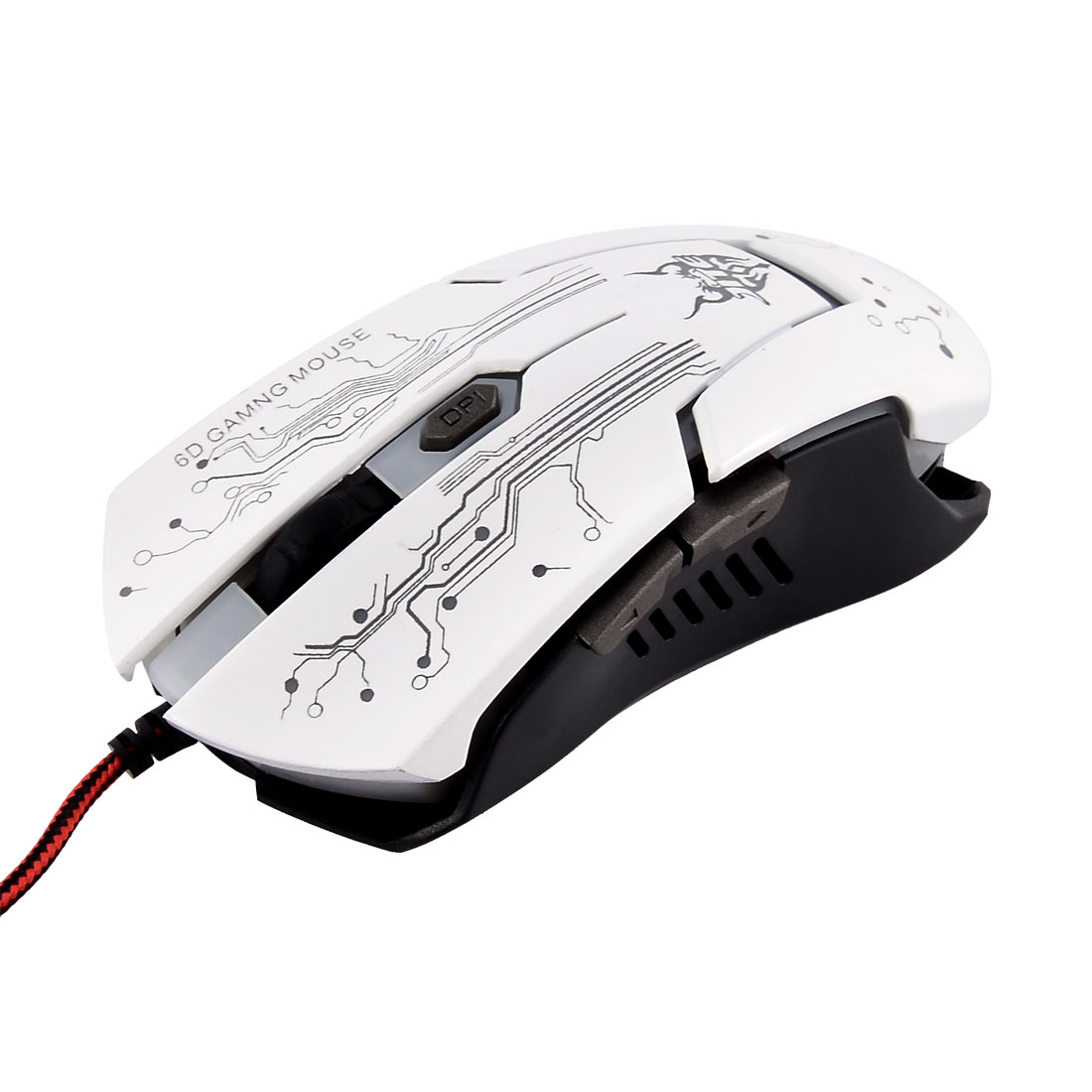 Unique Bargains USB  Light 4000 DPI 6 Button Optical Wired Gaming Mouse White for Gamer