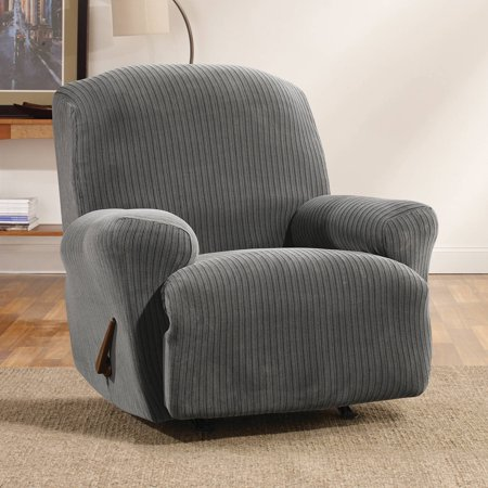 sure fit simple stretch ribbon one piece recliner slipcover. Black Bedroom Furniture Sets. Home Design Ideas