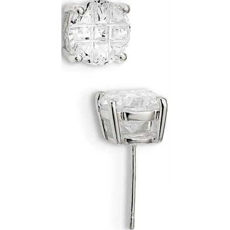 925 Sterling Silver 8mm Round Basket Set CZ Stud (8x8mm) Earrings - image 3 of 3