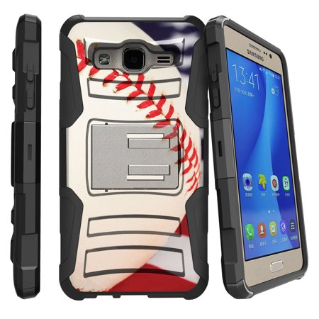 Samsung Galaxy On5 G550 Miniturtle® Clip Armor Dual Layer Case Rugged Exterior with Built in Kickstand + Holster - Baseball Seams