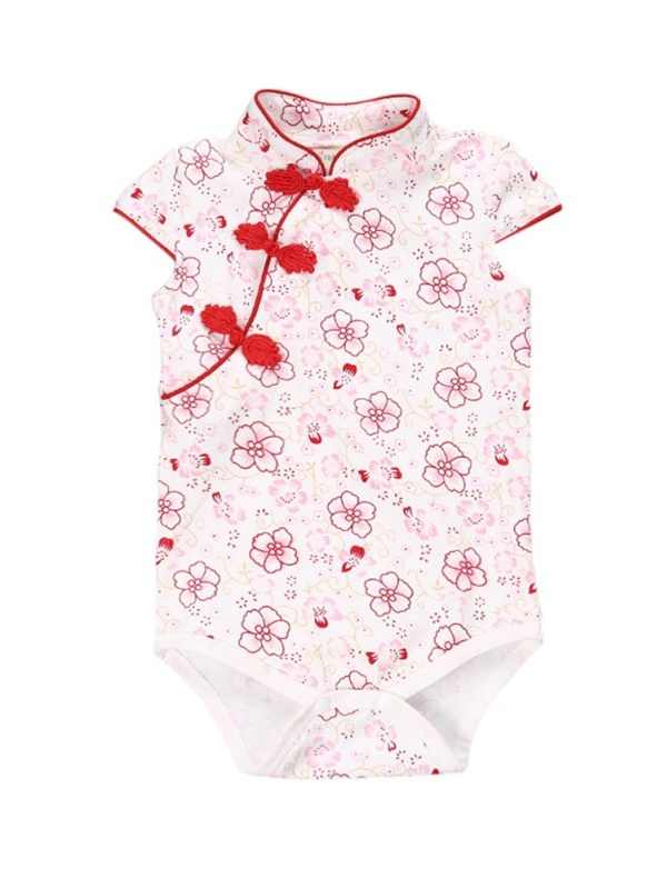 BOBORA Chinese Style Kids Girl Cheongsam Romper Cotton Summer Siamese Clothes Outfit