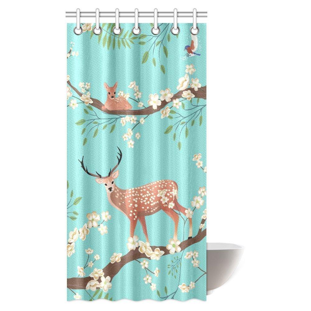 GCKG Traditional Asian Retro Nature Sakura Blossom Decor Shower Curtain Flying Birds And Sika Deer On Tree Brunch Bathroom Set With