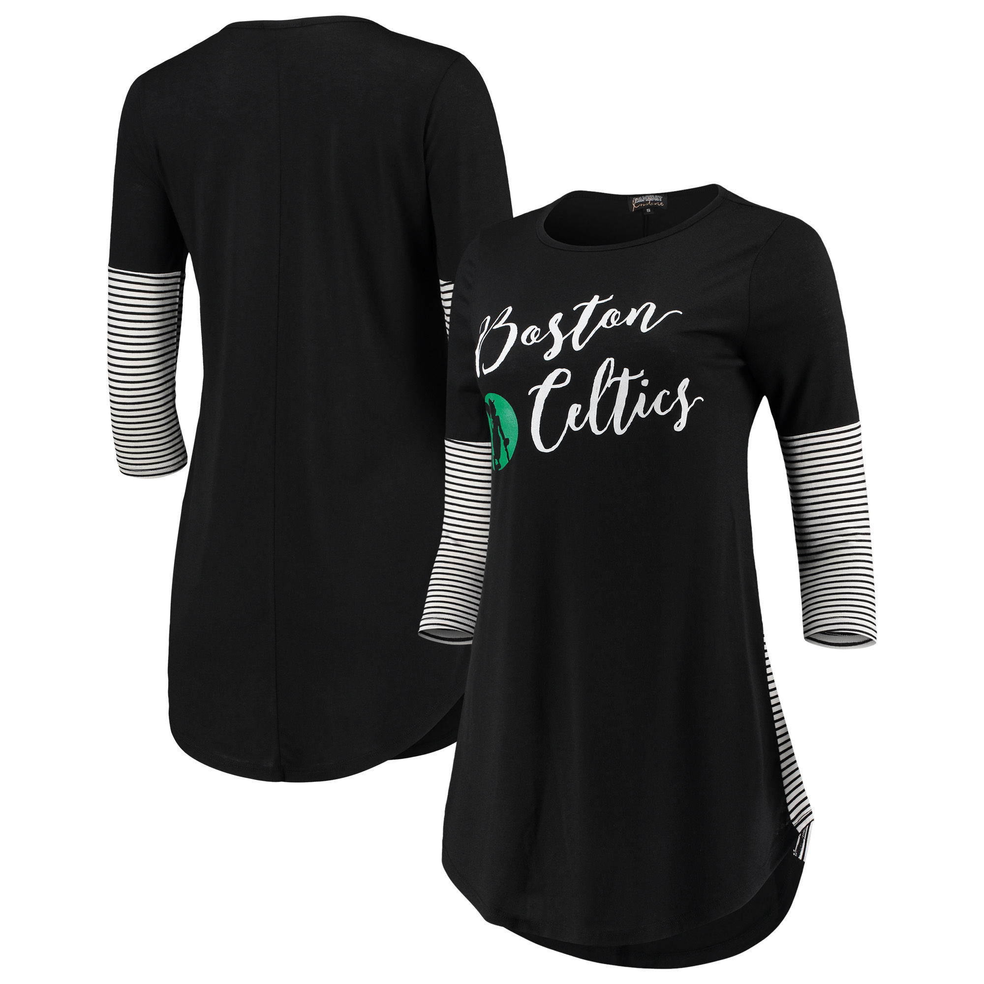 Boston Celtics Women's Striking in Stripes 3/4 Sleeve Tunic T-Shirt - Black