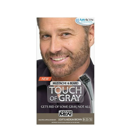 Just For Men Touch Of Gray Mustache & Beard, Easy Brush-In Facial Hair Color Gel, Light and Medium Brown, Shade