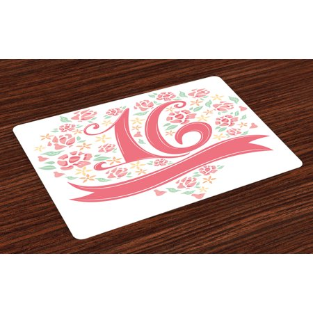 16th Birthday Placemats Set of 4 Floral Sweet Sixteen Typohraphy with Spring Floral Rose Petal Image, Washable Fabric Place Mats for Dining Room Kitchen Table Decor,Dark Coral Mint, by Ambesonne](Spring Themed Sweet 16)