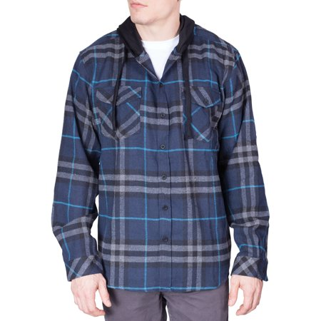 Mens Flannel Hoodie Shirt Long Sleeve Button Down Up Plaid Woven Shirts - Navy - Large