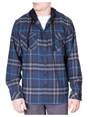 34973a219a5 Product Image Mens Flannel Hoodie Shirt Long Sleeve Button Down Up Plaid  Woven Shirts - Navy - Large