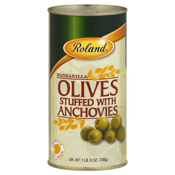 Roland Manzanilla Olives Stuffed with Anchovies, 25.0 OZ