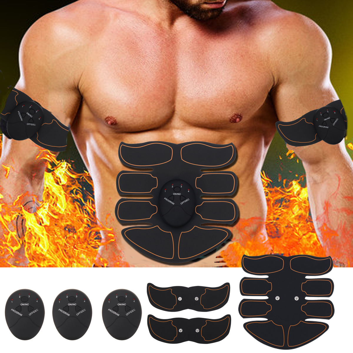 6Pcs/set Electric Smart Abs Stimulator Training Fitness Gear Muscle Training Abdominal Toning Belt Trainer