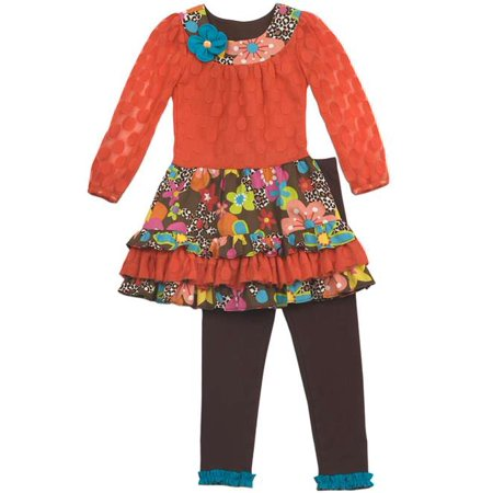Rare Editions Orange Lace  Dress With Leggings   18 months