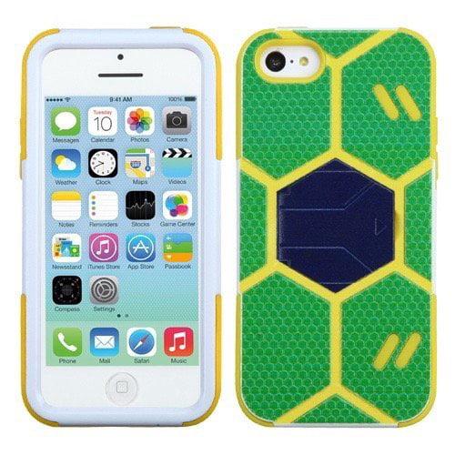 Apple iPhone 5C MyBat Goalkeeper Hybrid Protector Cover, Green/Beige with Dark Blue Stand