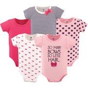 Hudson Baby Girl Short Sleeve Bodysuits, 5-pack