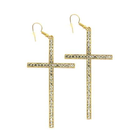 Gold Diamond Cross Earrings for Women Fashion Ear Jewelry Online Christmas Gift Ideas for Ladies