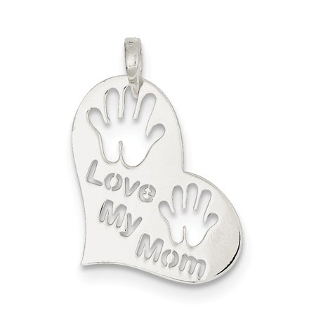 Sterling Silver Mop - 925 Sterling Silver Polished Love My Mom Heart Pendant (28mm x 20mm)