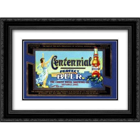 Centennial Perfect Beer Label 2x Matted 24x18 Black Ornate Framed Art Print by Vintage Booze Labels Carling Black Label Beer