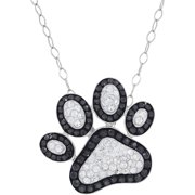 """Brilliance Fine Jewelry Sterling Silver Black and White Paw Print Pendant, 18"""" Necklace"""