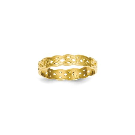Solid 14k Yellow Gold Polished Celtic Knot Wedding Band (3mm) - Size 4 - Wedding Knot
