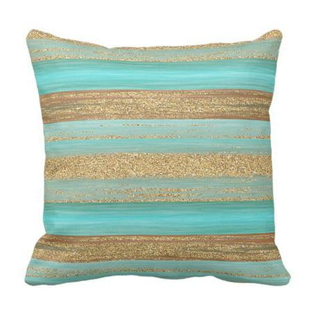 ARTJIA Retro Cozy Modern Turquoise Faux Gold Glitter Stripes Green Livin Pillowcase Cushion Cover 16x16 inches Stylin Green Stripe