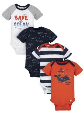 Gerber Baby Boys Short Sleeve Onesies Bodysuits, 4-Pack