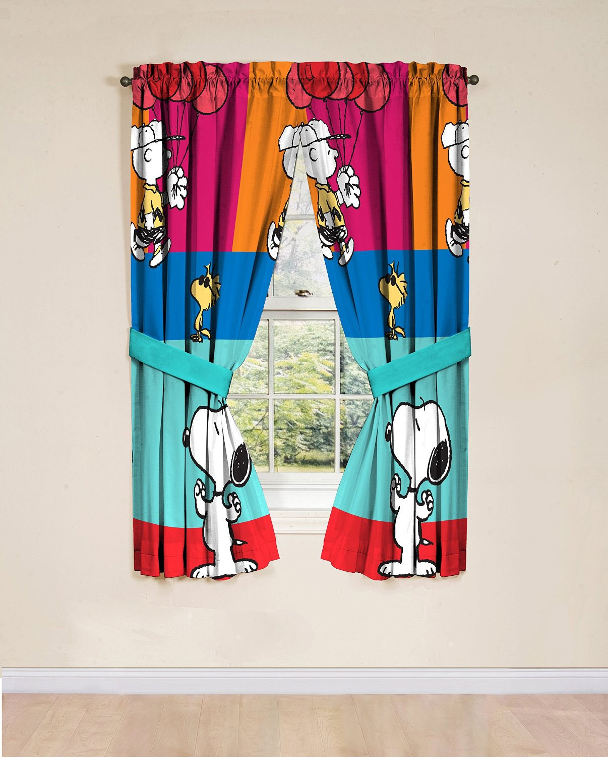Peanuts Window Drapes, Set of 2 - Walmart.com for Window With Curtains Illustration  181obs