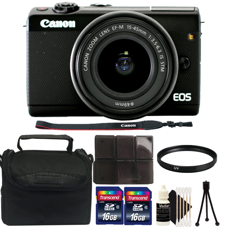 Canon EOS M100 Mirrorless 24.2MP Digital Camera with EF-M 15-45mm IS STM Lens and Complete Accessory Kit