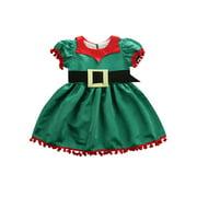 Baby Kids Girls Christmas Xmas Elf Dress Short Sleeve Party Cute Mini Dresses