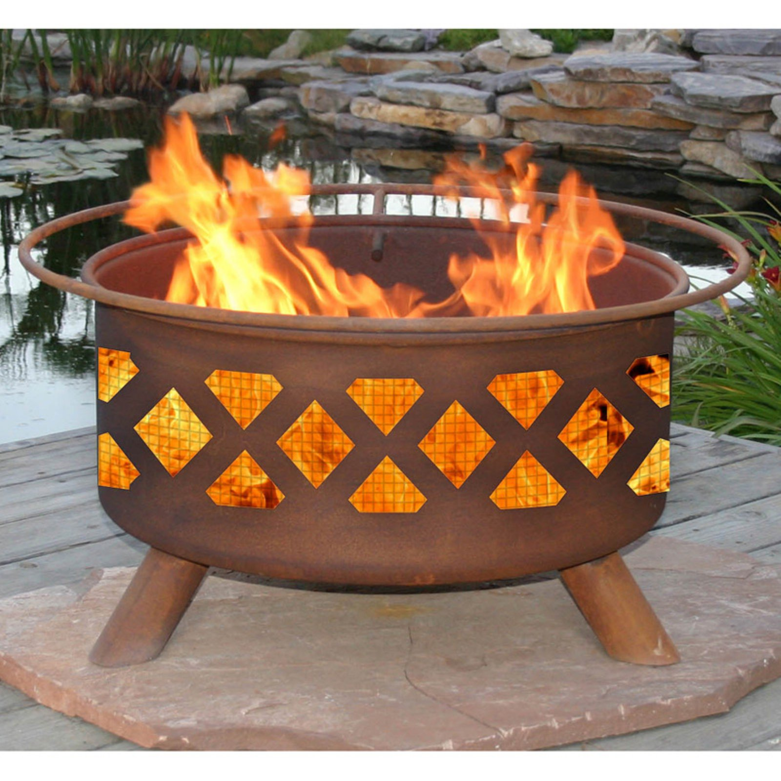 Patina Crossfire 31-Inch Fire Pit with Grill and FREE Cover