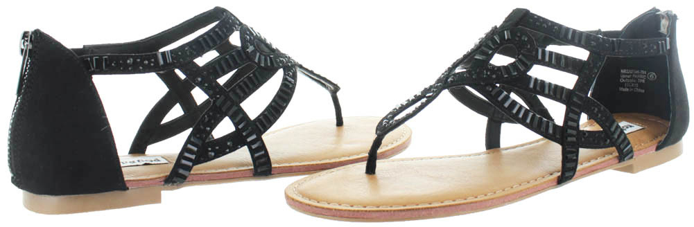 33ac9f049bce Not Rated - Not Rated Naughty Monkey Coronado Women s Caged Gladiator Thong  Sandals Beaded - Walmart.com