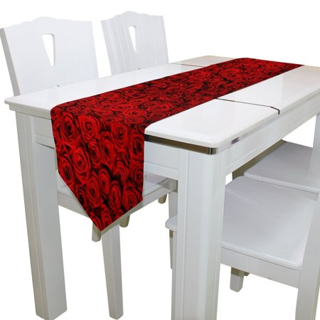 POPCreation Red Flower Floral Rose Table Runner Decoration Kitchen Table Runners for Home Coffee Kitchen Dining Table 13x90 inches ()