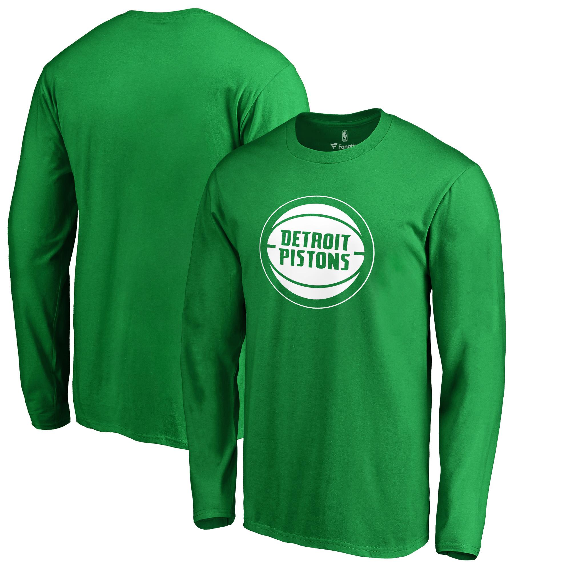 Detroit Pistons Fanatics Branded St. Patrick's Day White Logo Long Sleeve T-Shirt - Kelly Green