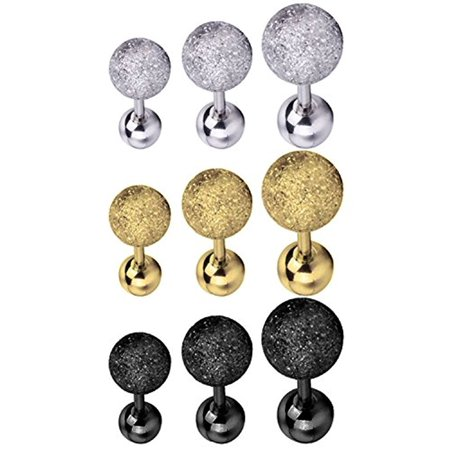 BodyJ4You 9PCS Tragus Ball Piercing Stud Earring Set 16G Surgical Steel Helix Ear Barbell Pack - Surgical Steel Ear Posts