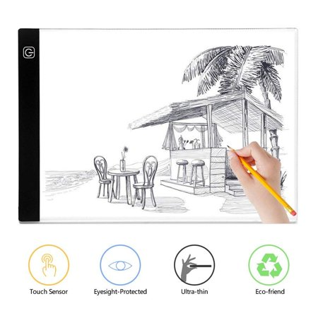 A4 Size Ultra-Thin LED Tracing Light Box Artist Stencil Board Sketching Drawing Light Pad with 3-level Adjustable Brightness